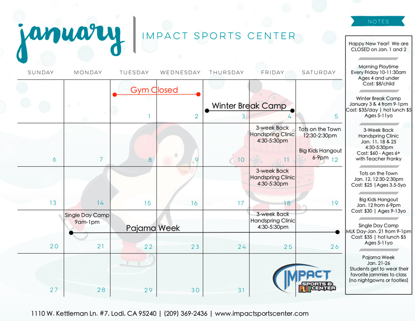 What's Happening! - January - Impact Sports Center
