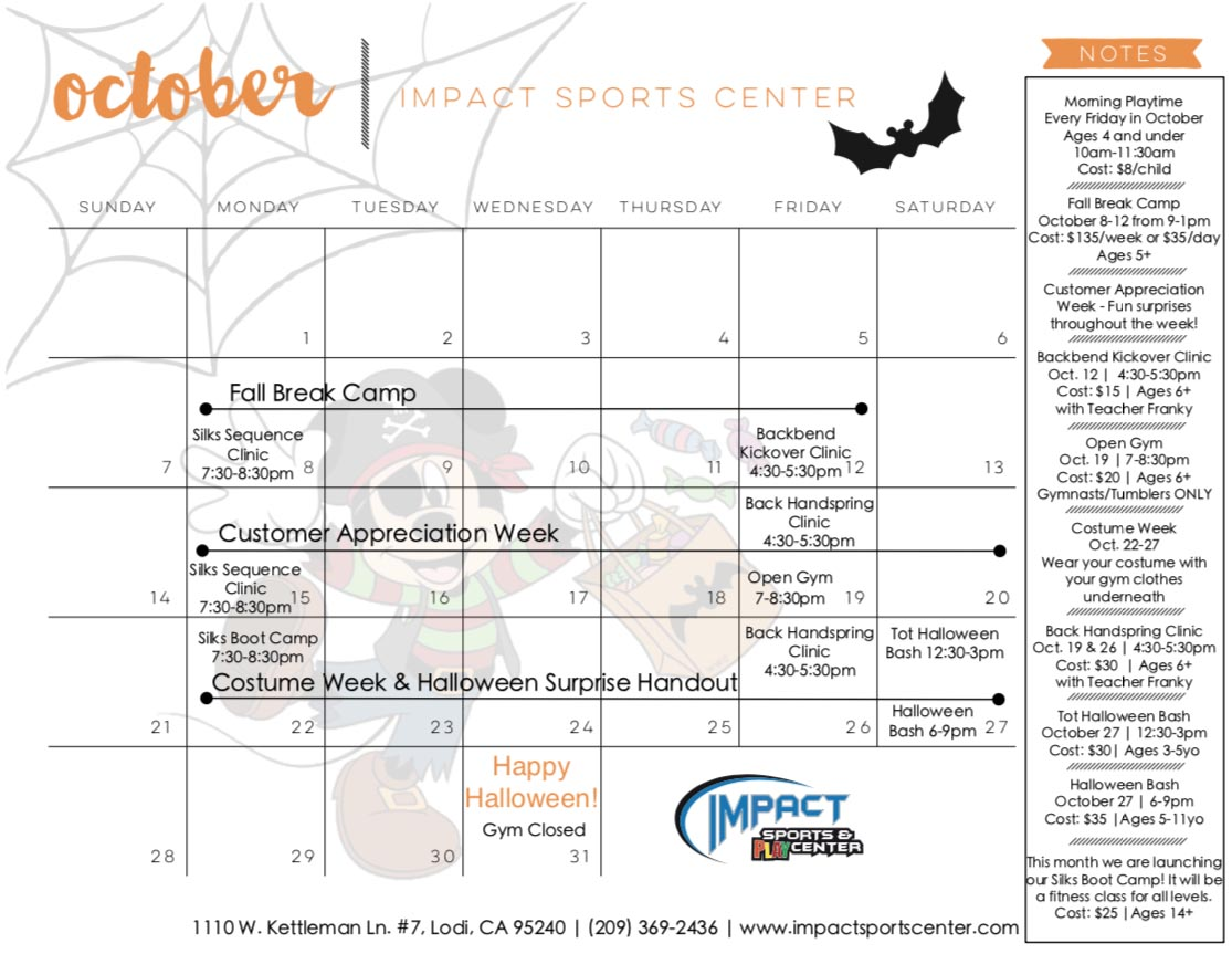 What's Happening! - October - Impact Sports Center